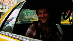 Male Visitor Arriving New York Times Square Yellow Cab - stock footage