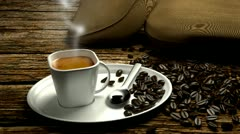 Espresso with smoke Stock Footage