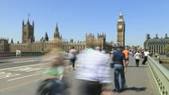 Stock Video Footage of Crowds of people and traffic on Westminster Bridge, London