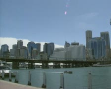 Sydney skyline from Darling Harbour + pan Stock Footage