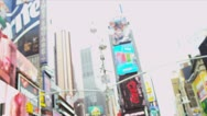 Stock Video Footage of Young Male Wireless Tablet Sightseeing New York Times Square