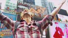 Young Male Tourist Times Square New York Stock Footage