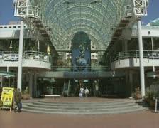 Sydney Darling Harbour shopping center building entrance tilt up Stock Footage
