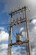 electric transformer - stock photo