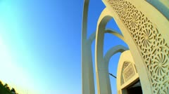 Close Up Architecture Gate Alrumeilah Family Park Qatar Stock Footage