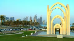 Entrance Gate Alrumeilah Family Park Doha, Qatar Stock Footage