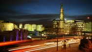 Ultra HD 4K Illuminated Night Lights Car Traffic Shard London Bridge, time lapse Stock Footage