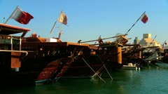 Traditional Wood Dhows Doha Harbor Stock Footage