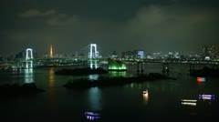 Ultra HD 4K Aerial View, Tokyo Tower Skyline Rainbow Bridge City Night timelapse Stock Footage