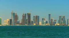 Modern Cityscape Doha From Water Qatar Peninsula Stock Footage