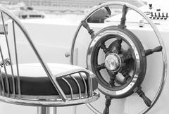 Yacht rudder in black and white - stock photo