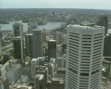 High angle - Sydney skyscrapers from centrepoint tower pan Botany Bay Stock Footage