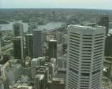Stock Video Footage of high angle - Sydney skyscrapers from centrepoint tower pan Botany Bay
