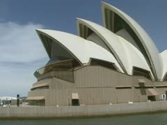 Sailing Botany Bay along Sydney opera house Stock Footage