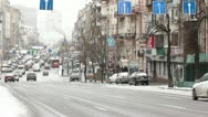 Street scene with cars. Winter. Editorial. Stock Footage