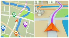 GPS navigation concept. Seamless loop. Stock Footage