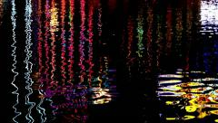 Abstract of moving water with colours at night Stock Footage