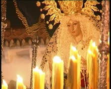 Virgin in procession, spanish holy week Stock Footage