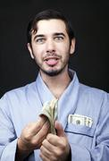 make cash in your robe! - stock photo
