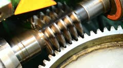 wormwheel gear, cogwheel production and service - stock footage
