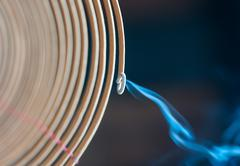 Burning spiral incense stick in temple. Stock Photos