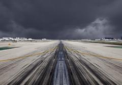 lax runway severe storm - stock photo