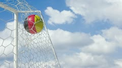 German ball scores in slow motion with sky background Stock Footage
