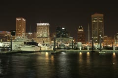 Stock Video Footage of Baltimore Inner Harbor at Night
