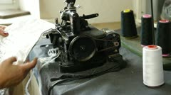 Overlock sewing machine Stock Footage