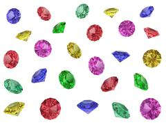 several multi-coloured faceted gemstones isolated on white - stock illustration