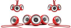 red stylish high-power stereo system with cables - stock illustration