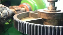 Industrial machine for wormwhee gear and cogwheel Stock Footage