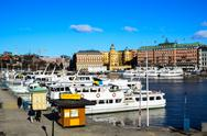 White boats in stockholm Stock Photos