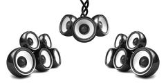black stylish audio system over white - stock illustration