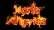 Stock Video Footage of flame North America word.