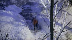 Street cleaner in orange uniform removing the snow. Time lapse. Stock Footage