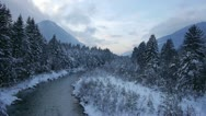 Stock Video Footage of AERIAL: Flight over the river in winter