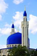 landscape with islam temple of the south russia - stock photo