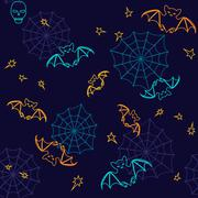 bats and web halloween seamless background - stock illustration