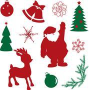 Set of christmas silhouette shapes Stock Illustration