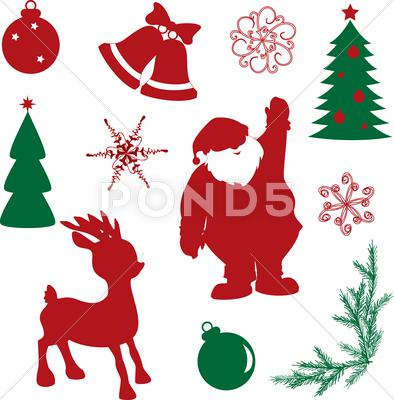 Stock Illustration of set of christmas silhouette shapes