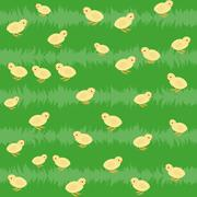 seamless pattern with chickens on the grass - stock illustration