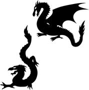 two dragon silhouettes - stock illustration