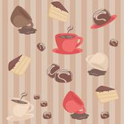 seamless stripy pattern with cups and cakes - stock illustration