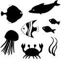 Fish silhouettes set 3 Stock Illustration