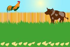 Village card concept with rooster and cow Stock Illustration