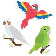 Set of cartoon parrots Stock Illustration