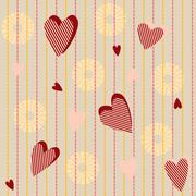 seamless pattern with striped hearts - stock illustration