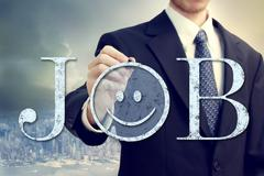 job with smiley emoticon - stock photo