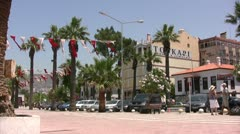 Typical street in Kusadasi with flags and palm trees - stock footage